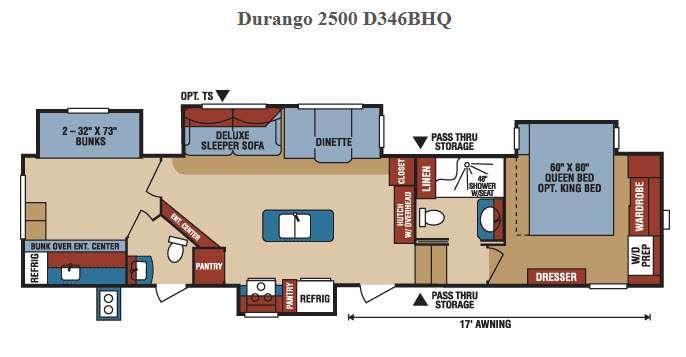 Durango 2500 D346BHQ Floorplan Image