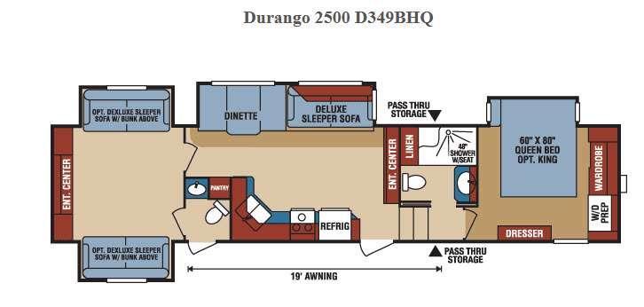 Durango 2500 D349BHQ Floorplan Image