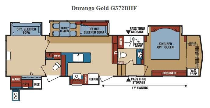 Durango Gold G372BHF Floorplan Image