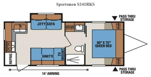 Floorplan - 2017 KZ Sportsmen S241RKS