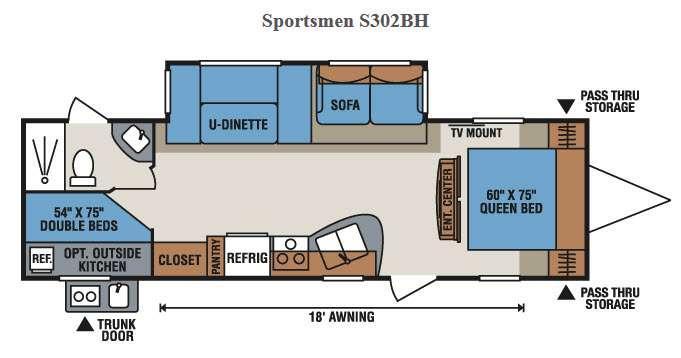 Floorplan - 2017 KZ Sportsmen S302BH