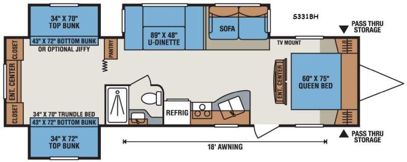 Sportsmen S331BH Floorplan Image