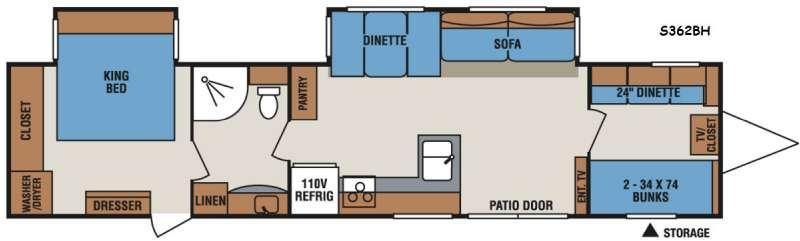 Sportsmen S362BH Floorplan Image