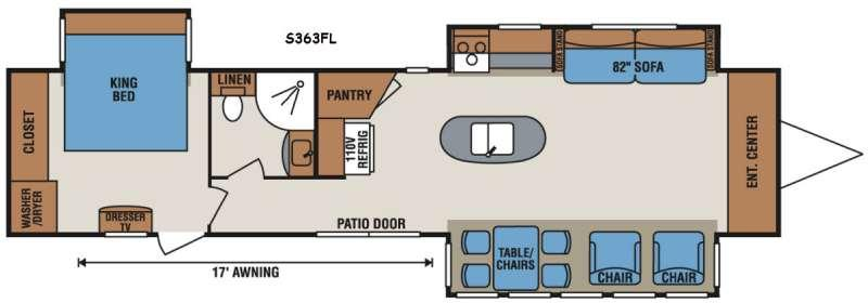 Floorplan - 2017 KZ Sportsmen S363FL