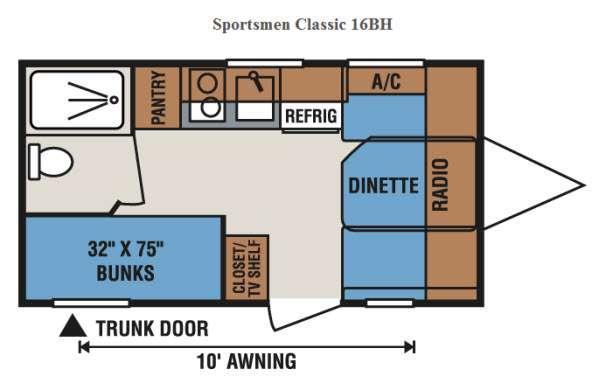 Sportsmen Classic 16BH Floorplan Image