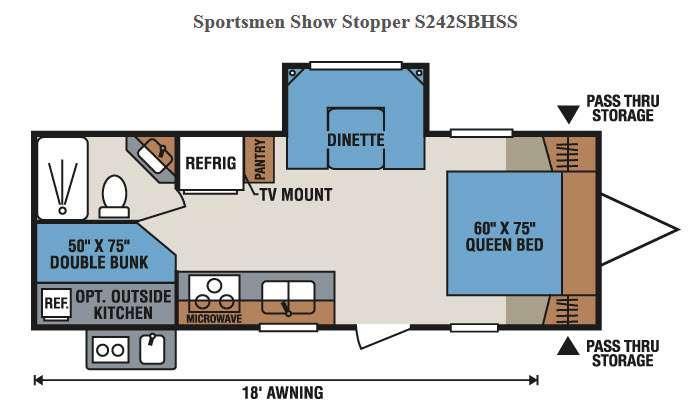 Floorplan - 2017 KZ Sportsmen Show Stopper S242SBHSS