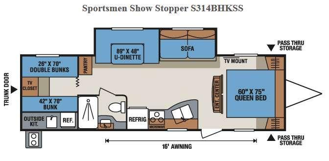 Floorplan - 2017 KZ Sportsmen Show Stopper S314BHKSS