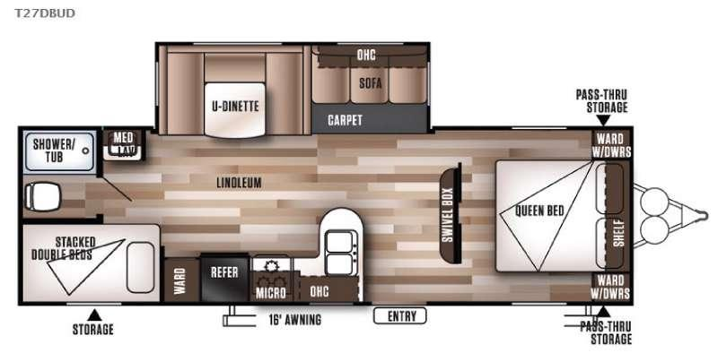 Floorplan - 2017 Forest River RV Wildwood 27DBUD