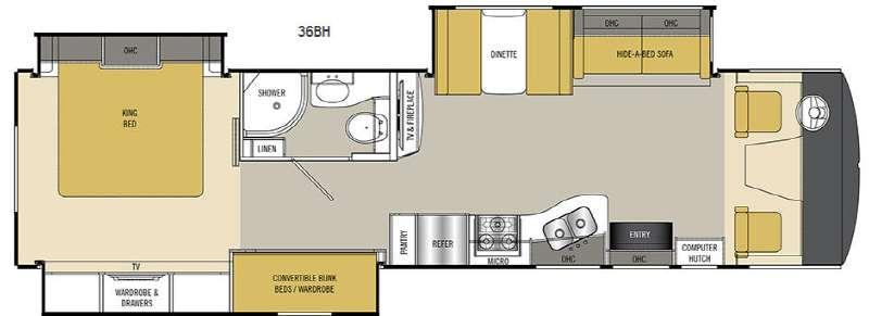 Floorplan - 2017 Mirada Select 36BH Motor Home Class A