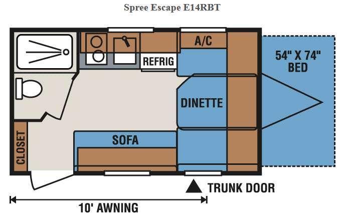 Floorplan - 2017 KZ Spree Escape E14RBT