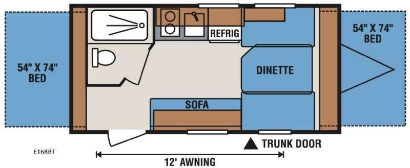 Floorplan - 2017 KZ Spree Escape E16RBT