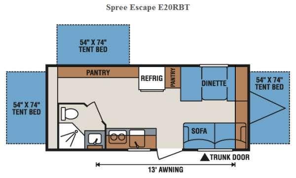 Floorplan - 2017 KZ Spree Escape E20RBT