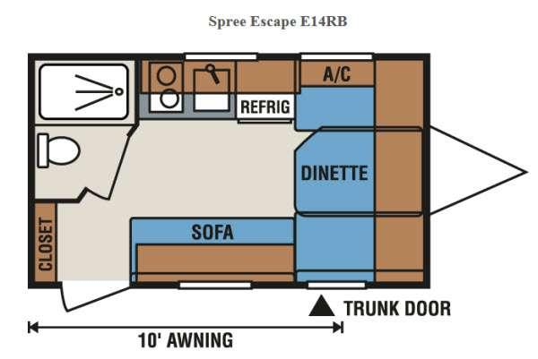 Floorplan - 2017 KZ Spree Escape E14RB