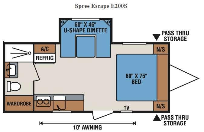 Floorplan - 2017 KZ Spree Escape E200S