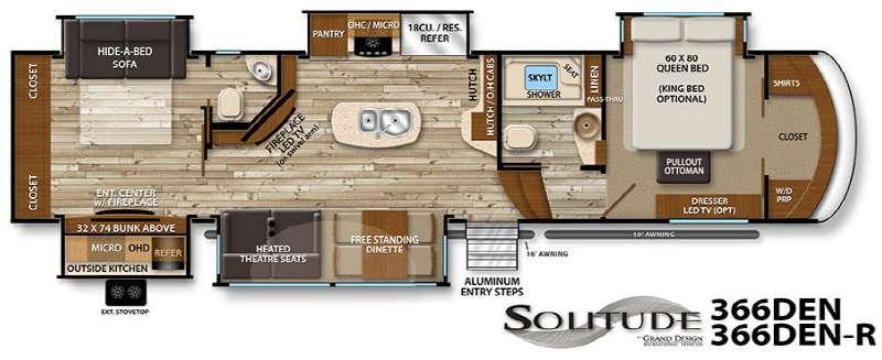 Floorplan - 2017 Grand Design Solitude 366DEN R