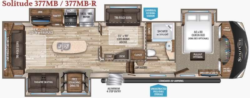 Floorplan - 2017 Grand Design Solitude 377MB