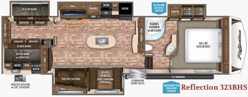 Reflection 323BHS Floorplan Image