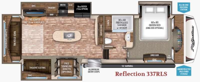 Floorplan - 2017 Reflection 337RLS Fifth Wheel