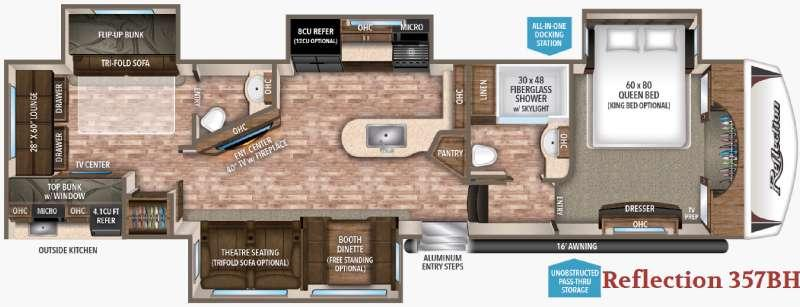 Floorplan - 2017 Grand Design Reflection 357BHS