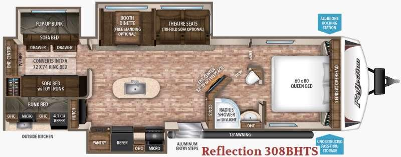 Reflection 308BHTS Floorplan Image