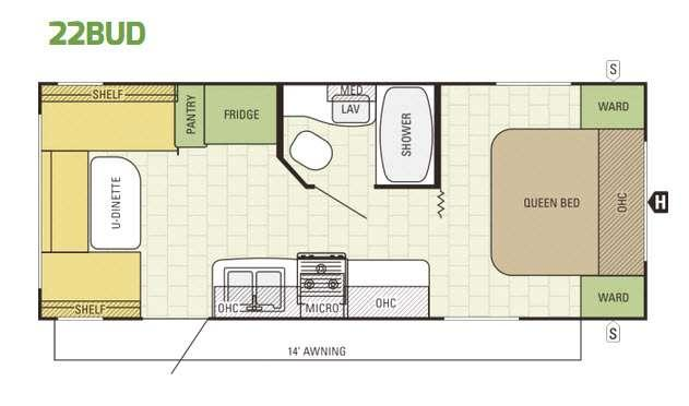 Launch Ultra Lite 22BUD Floorplan Image