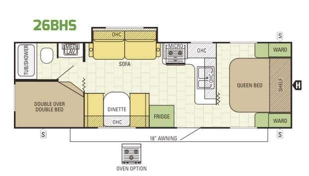 Launch Ultra Lite 26BHS Floorplan Image
