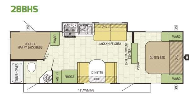 Launch Ultra Lite 28BHS Floorplan Image