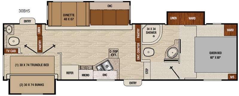 Chaparral Lite 30BHS Floorplan Image
