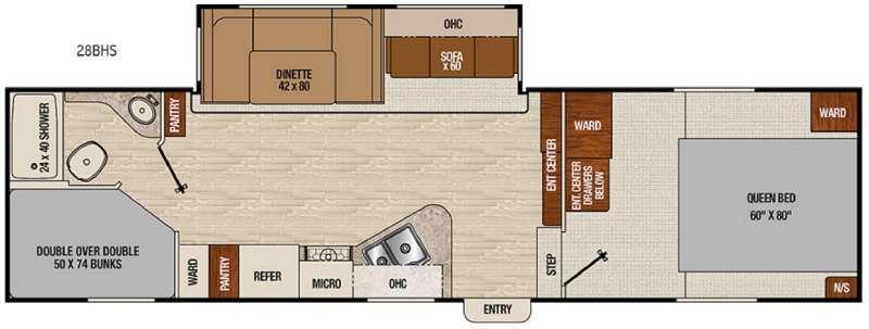 Chaparral X-Lite 28BHS Floorplan Image
