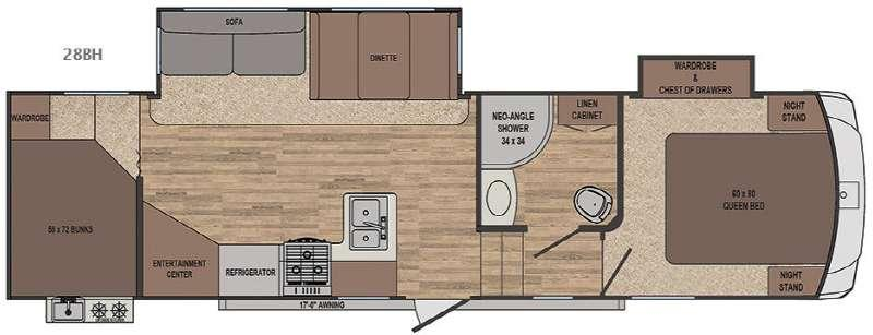 Floorplan - 2017 Forest River RV Sabre Lite 28BH
