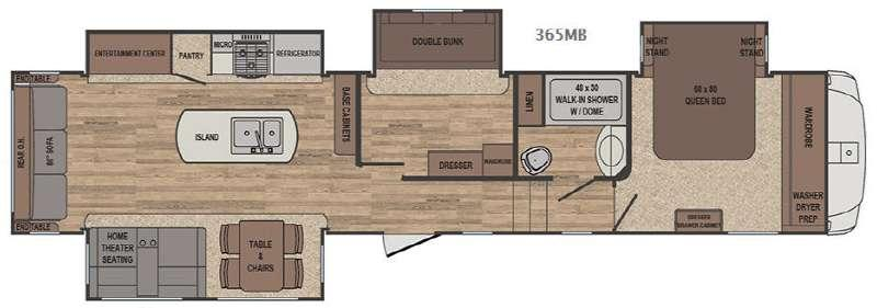 Floorplan - 2017 Forest River RV Sabre 365MB