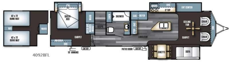 Floorplan - 2017 Forest River RV Salem Villa Series 4092BFL Estate