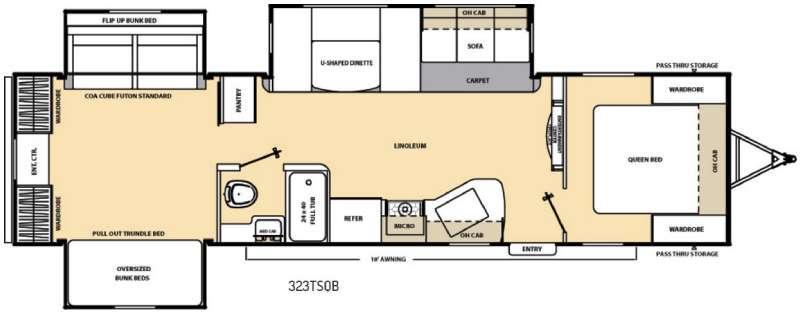 Catalina 323TSQB Floorplan Image