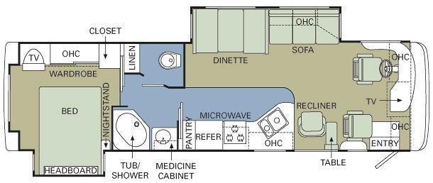 Floorplan - 2007 Holiday Rambler Vacationer 34 PDD