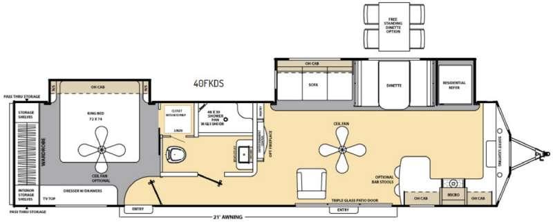 Catalina Destination Series 40FKDS Floorplan Image