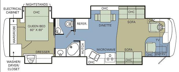 Floorplan - 2007 Holiday Rambler Endeavor 38 PDQ