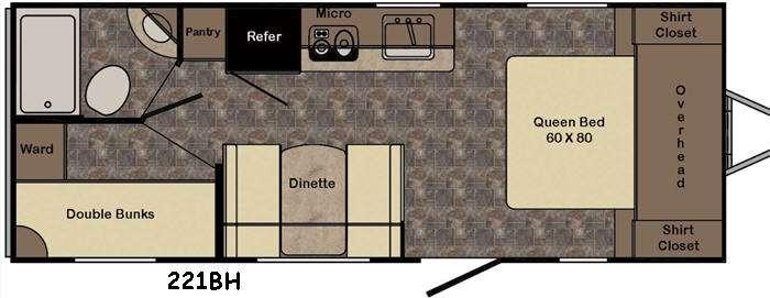 Sunset Trail Ultra Lite 221BH Floorplan Image