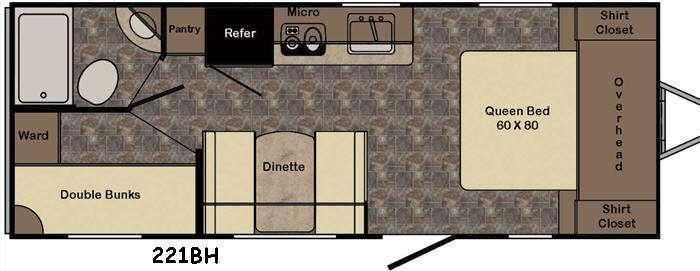 Sunset Trail Ultra Lite 221BH Floorplan Image