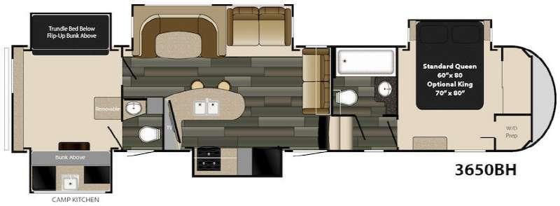 Floorplan - 2017 Gateway 3650 BH Fifth Wheel