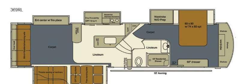 Floorplan - 2017 EverGreen RV Bay Hill 369RL