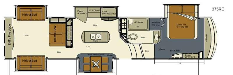 Floorplan - 2017 EverGreen RV Bay Hill 375RE