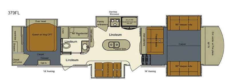 Floorplan - 2017 EverGreen RV Bay Hill 379FL