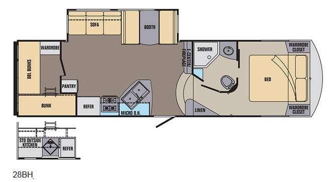 Phoenix Rise 28BHXLT Floorplan Image