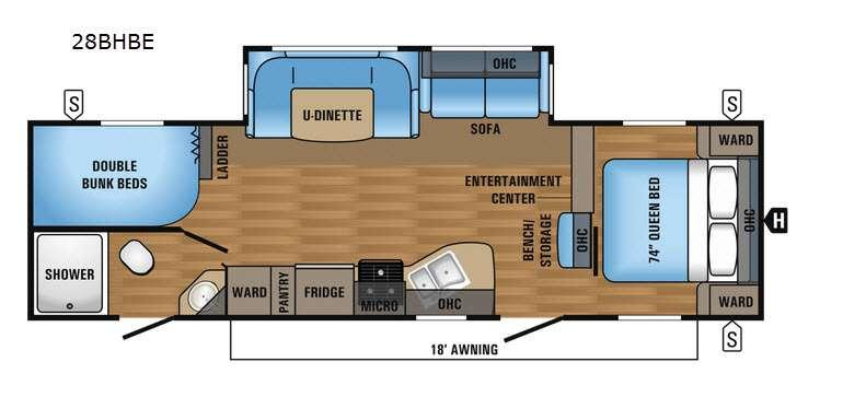 Floorplan - 2017 Jayco Jay Flight 28BHBE