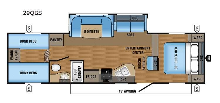 Jay Flight 29QBS Floorplan Image