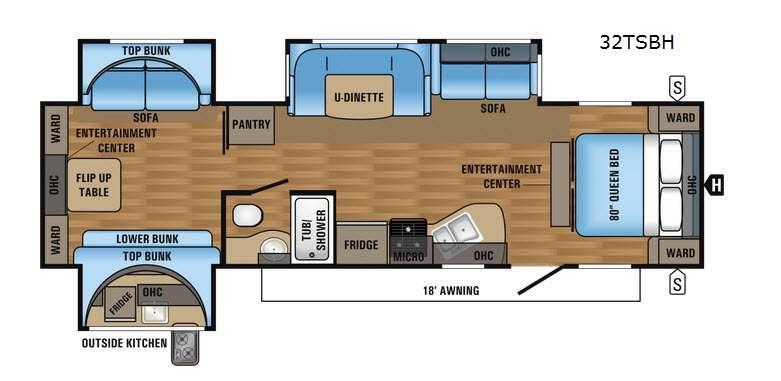 Jay Flight 32TSBH Floorplan Image