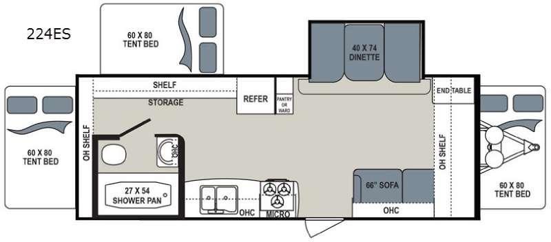 Floorplan - 2017 Dutchmen RV Aerolite 224ES
