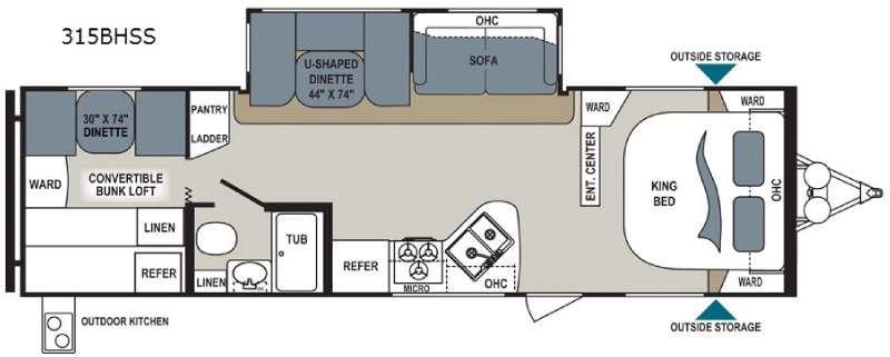 Aerolite 315BHSS Floorplan Image