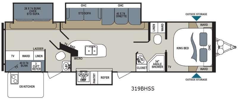Aerolite 319BHSS Floorplan Image