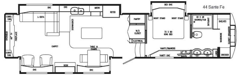 Floorplan - 2017 DRV Luxury Suites Mobile Suites 44 Sante Fe